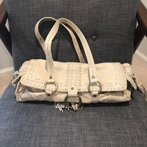 Cream Leather with fringe BCBG purse